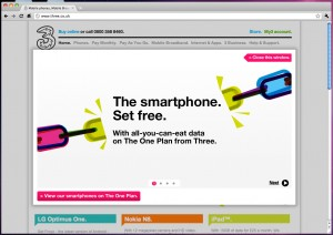 three's very dumb homepage advert